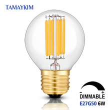 Buy Dimmable E27 G50 LED Vintage Filament Light Lamp,6W 220V-240V,Clear frosted Glass Retro Edison Bulb,Cold White Warm White for $4.08 in AliExpress store