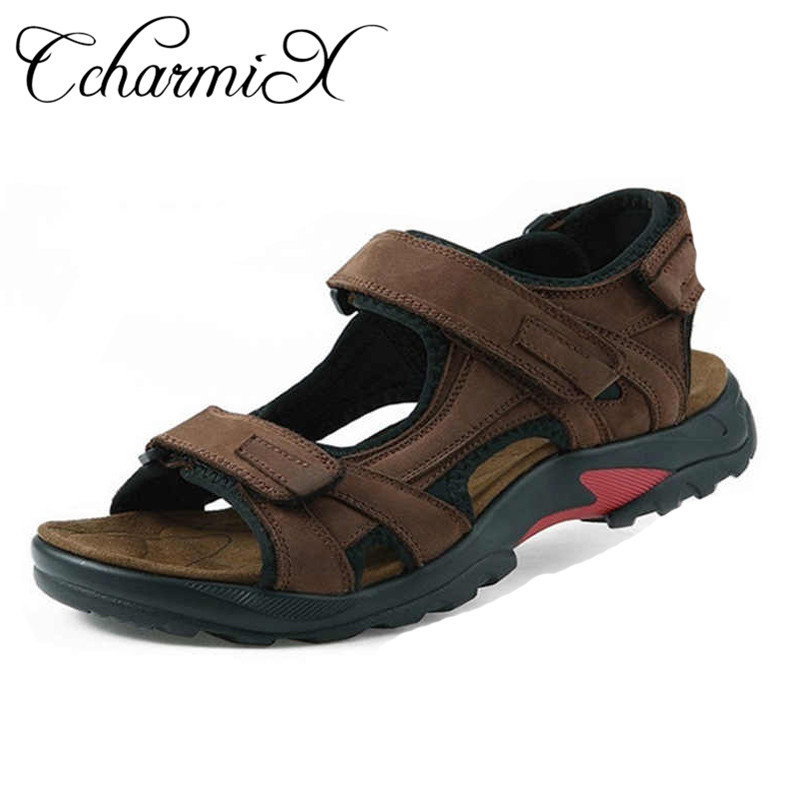 Mens Real Leather Sandals Brown Summer Beach Walking Back Strap Slippers UK Size