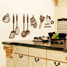 Free shipping Fashion DIY vinyl Removable Kitchen Home Decoration photo wallpaper Wall Stickers  105*45cm