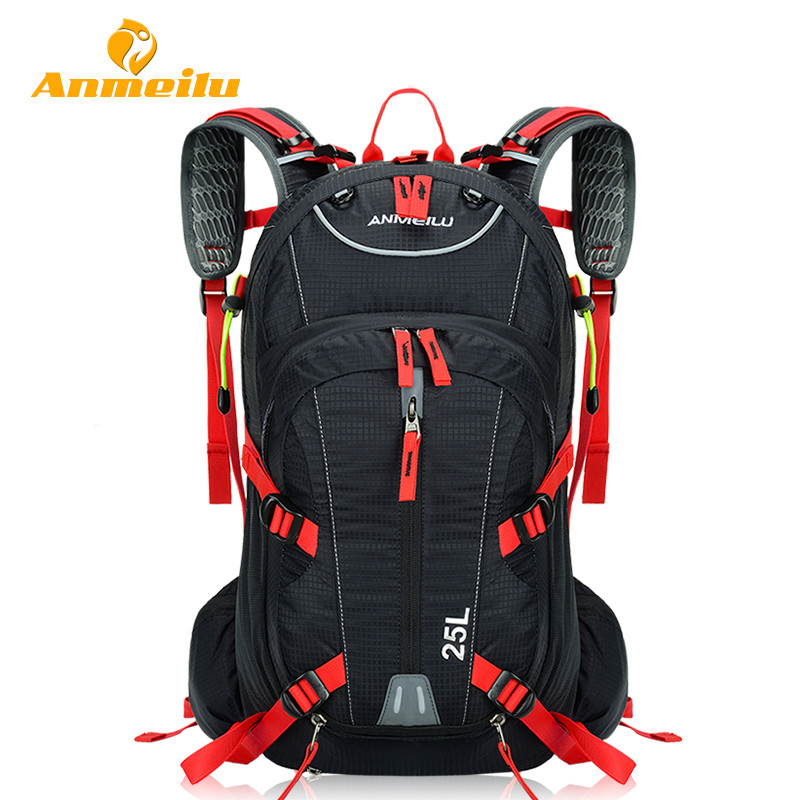 ANMEILU 25L Climbing Bag Rucksack Waterproof Cycling Camping Sports Backpack Mens Travel Bags + 2L Water Bag And Rain Cover<br>