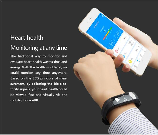 CD01 Graphene ECG HeartRate Blood Pressure Smart Bracelet for iphone Android Sleep Pedometer Activity Tracker Call SMS Reminder 3