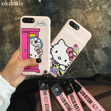 Fashion Cartoon Hello Kitty Doraemon Pink red+Lanyard Soft Back Cover for Apple IPhone 8 6 6s 7 7 plus Silicone Ultra Phone Case(China)