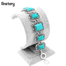 Buy Hollow Flower Oblong Stone Bracelet Women Vintage Look Antique Silver Plated Fashion Jewelry TB157 for $2.99 in AliExpress store
