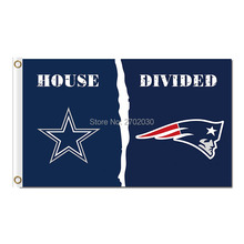Dallas Cowboys Flag Vs New England Patriots Flag House Divided Football World Series New England Patriots Banner 3ft X 5ft(China)