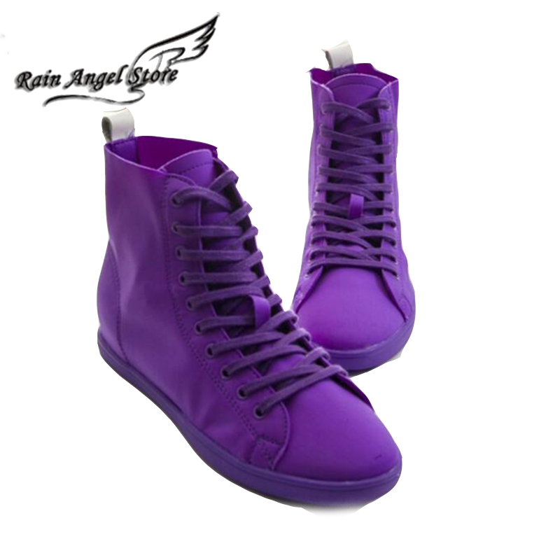 Candy Color Casual Shoes Fashion Solid High Top Canvas Shoes For Summer Lace-up Shoes Tenis Feminino<br><br>Aliexpress