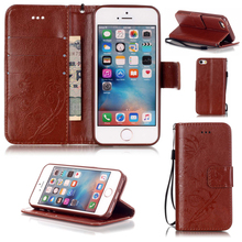 Knurling PU Leather Wallet Card Holder Stand Brown Case Cover with String For iPhone 5c 5 5s 6 6s 6/6s plus 7 wholesale