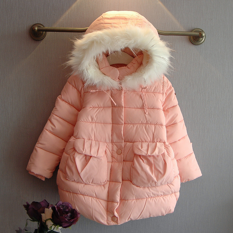new 2015 autumn winter casual fur collar girls coat fashion Thick warm long kids baby jacket suit 2~7 age girls outerwear coatОдежда и ак�е��уары<br><br><br>Aliexpress