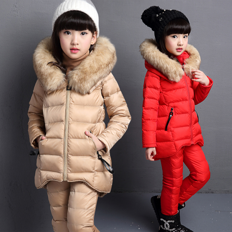 New 2017 Winter kids boys three piece Real cotton sets childrens thicke vest coat +sweater+pant sports suits for girls <br>