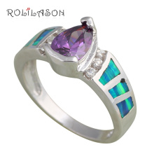 Zircon & Retail Blue fire Opal stamp Silver Rings fashion Jewelry USA size #6.25 #7.5 #7.75 #8 Best gifts OR465 - ROLILASON Store store