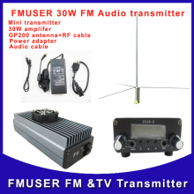 Fmuser  FU-30E CZH-30E FM radio mini transmitter and 30W amplifier with GP200 1/2 wave antenna with power  adapter A KIT