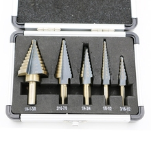 Hot 5pcs HSS Step Drill Bit Kit Set 50 Sizes Cobalt Multiple Hole Drill Cutting Tools With Aluminum Case(China)