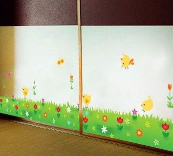 quality cute chicken wall stickers grass border wallpaper adesivo