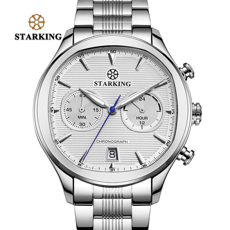 STARKING Business Dress Fashion Men Watches Stainless Steel Square Quartz Japan Movt Multi-function Chronograph Wristwatches Men<br>