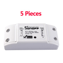 5pcs Sonoff DC 220v Remote Control Wifi Switch Smart Home automation/ Intelligent Center for APP Controls