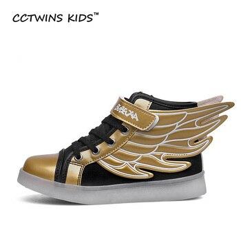 CCTWINS CRIANÇAS primavera outono crianças PU sapato de couro menina moda led shoes boy sneakers asa crianças sports shoes tênis de corrida F354