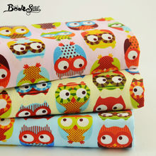 Booksew 3 PCS Mix 100% Cotton Fabric Cartoon Twill Owl Style Patchwork for Dolls Fat Quarters Quilting 20x25cm Pillow Baby Cloth