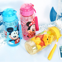 New Minnie Mickey Water Bottle Plastic Straw My bottle Children Kids Baby Cartoon Lovely Hiking kettle sports School bottle 2pc(China)