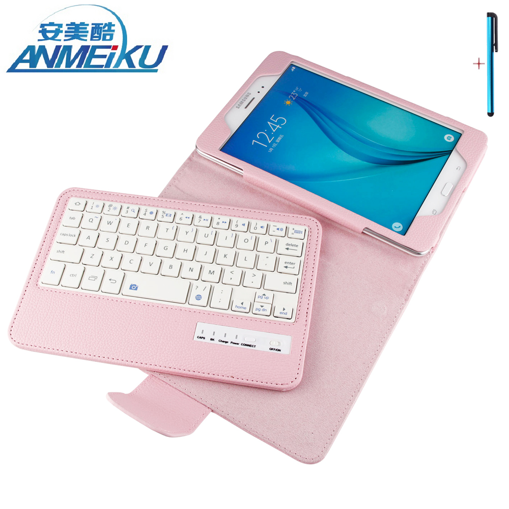 Keyboard For Samsung Galaxy Tab A 8.0 T350 T351 Tablet Case Removable Wireless Bluetooth Flip Stand PU Leather For Tab A 8.0inch<br>