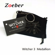 Zoeber Medallion video game Witcher Keychain high quality Witcher 3 Wild Hunt black Key Ring Wolf Head Alloy Key Chains for man