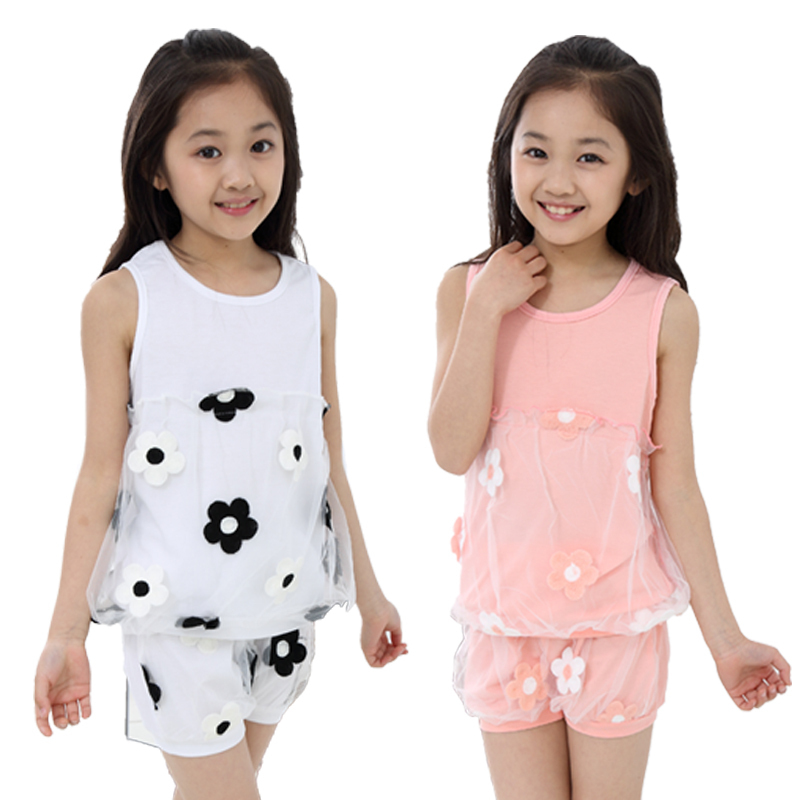High standard sexy girl sleeveless tops irregular cotton lace hem gauze sunflower vest clothing girl set summer female<br><br>Aliexpress