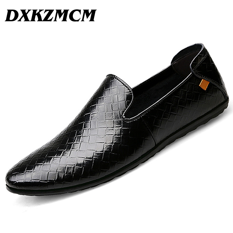 DXKZMCM Man Moccasin Breathable Mens Loafers Designer Flat Soft Leather Shoe Fashion Mens Casual Shoes<br>