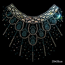 Clear Crystal flower T-skirt Clothing DIY strass hotfix Rhinestone applique Pattern motif Iron On Heat transfer Designs 353(China)