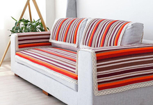 110cm Width Cotton Sofa Towel Stripped Sectinal Sofa Cover Slip Resistant Double-seat Three-seat Sofa Towel Cover Door Carpet(China)