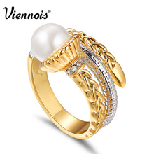 Viennois New Gold & Silver Color Metallic Rings for Women Simulated Pearl Twisted Ring Female Finger Ring Cocktail Jewelry(China)