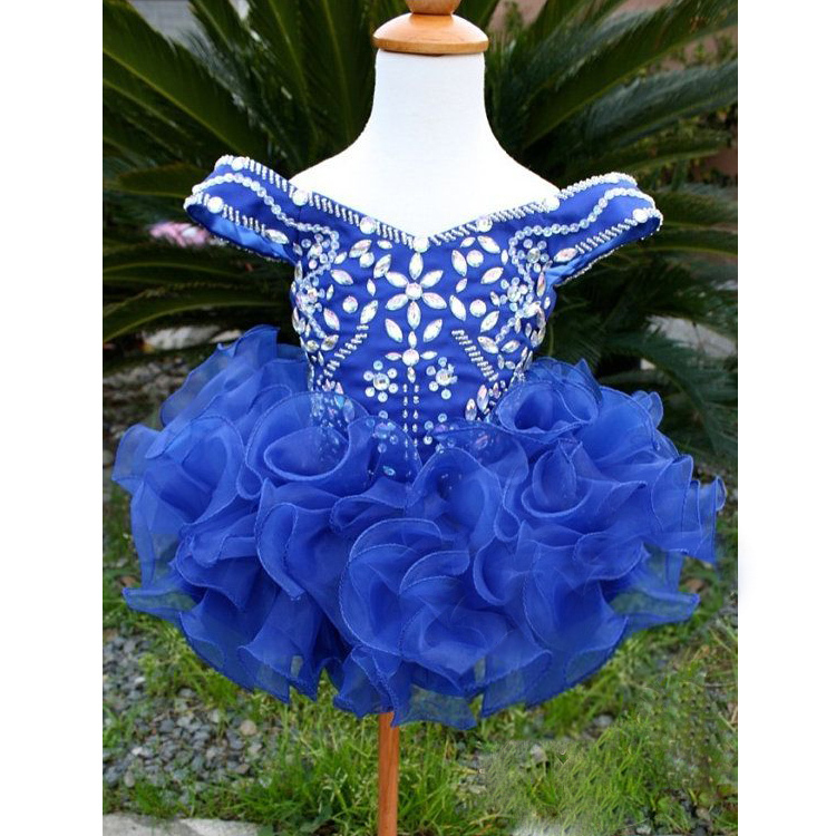 Vestidos Beaded Crystal Organza Ruffles Infant Cupcake Pageant Party Dresses Ball Gowns Off Shoulder Flower Girls Prom Dress<br><br>Aliexpress