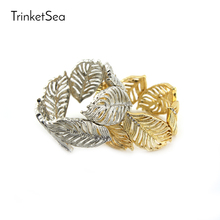 TrinketSea Hollow Silver Leaf Chain Elastic Bangle Bracelets for Women Luxury Fashion Jewelry Accessories Gold Cuff Bangles(China)
