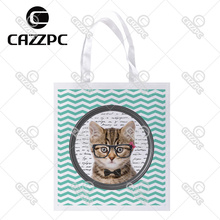 Cute Cat black glasses white dot Aquamarine Chevron Print Custom individual lightweight polyester fabric Reusable Bag gift bag(China)