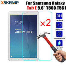 "XSKEMP 2Pcs 9H Premium Tempered Glass For Samsung Galaxy Tab E 9.6"" SM-T560 / T561 Tablet PC Screen Protector HD Protective Film(China)"