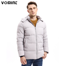 Vomint 2017 Winter Men Down Hoodie Coats Mid-weight 80% Down Warm Long Jackets Hat Detachable Solid Color Basic Style U6VI9357(China)