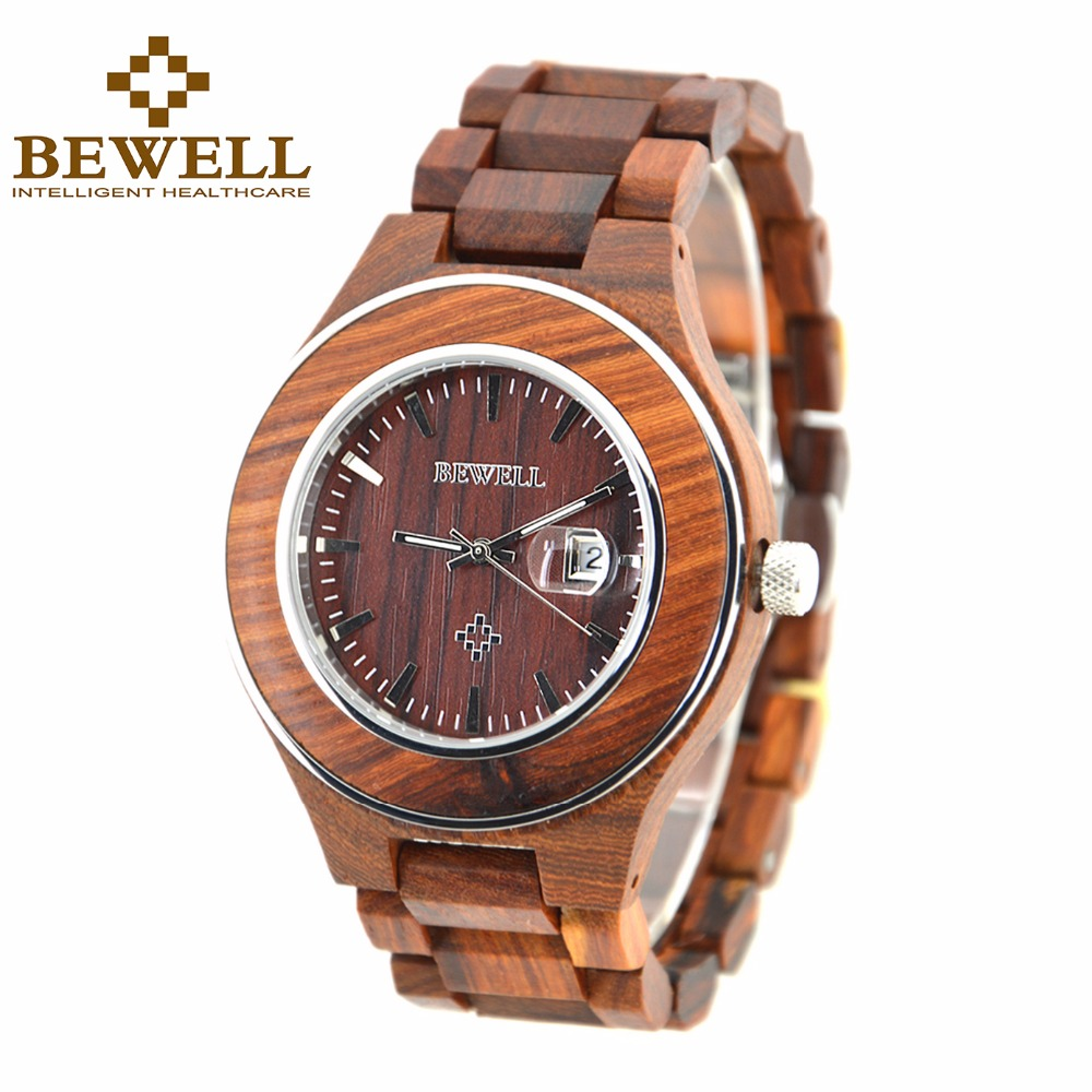 BEWELL Wood and Steel Case Watches Men Waterproof Date Quartz Wrist Watch Gift Box Wooden Male Clocks 100AG<br>