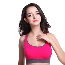 Women Padded Top Athletic Vest Gym Fitness Sports Bra Stretch Cotton Seamless Running Sport Bra(China)