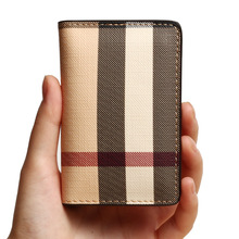 Fashion Classic Plaid Design Men ID Business Credit Card Holders US Europe Women Mini Leather Wallet Cover for Male Female(China)