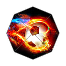 Fire Football Custom Made Portable Folding Travel Design Rain and Sun Beach Umbrellas Hat Unique Parasol Umbrella