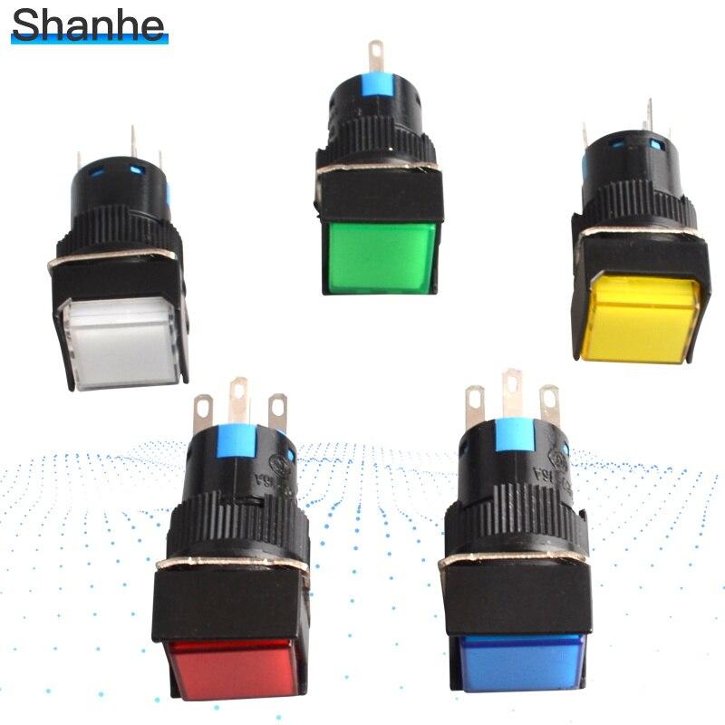 16mm Mounting DC 12V White LED Illuminated Light Momentary Pushbutton Switch