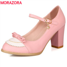 MORAZORA SIZE 34-45 2017 spring womens pumps buckle strap 8cm thick high heels round toe fashion ladies pumps wedding shoes(China)