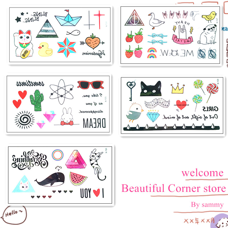 New Waterproof Temporary Tattoo Sticker on body art cartoon 1set 5pcs tattoo finger Water Transfer flash tattoo fake tattoo(China (Mainland))