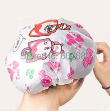 120 Pieces Cute Cartoon Shower Cap Waterproof Thicken Bathing Cap Mix Types Disposable Shower Hair Cap EMS Fast Free Shipping(China)