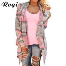 Rogi Cardigans Women 2017 Long Sleeve Irregular Geometric Printed Open Front Loose Aztec Sweaters Jumper Outwear Jacket Coat Top