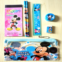 Cute Mickey Mouse stationery set for kids Kawaii pencil case for children ruler eraser estojo Office material School Supplies