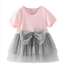 2017 Summer Toddler Girls Dresses Pink Short-sleeved Children Princess Dress Bow Gauze Tutu Kids Dresses for Girls