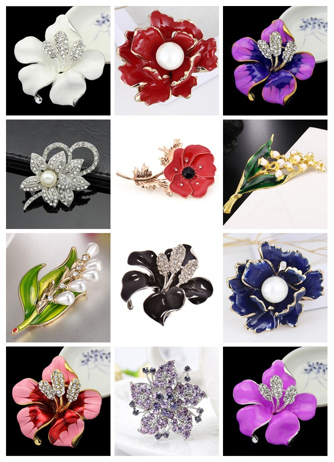 Rhinestone Flower Brooches For Women Men Crystal Wedding Bridal Party Bouquet Brooch Pin Mluti Style Fashion Jewelry Gift
