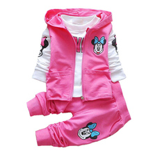 Hot! Baby Girls Clothes Minnie Clothing set Children Cartoon Long sleeve Sport 3pcs Clothes Suit,Baby Girls Clothing Baby wear