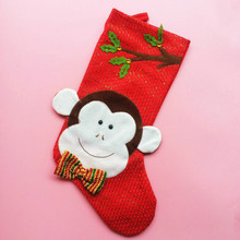 Christmas Stockings Socks Monkey Style Claus Candy Gift Bag Xmas Tree Decorations Festival Party Ornament New Year 5ZHH168(China)
