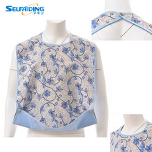 Adult Bib / Clothing Protector for Adults with Waterproof Vinyl Backing & Optional Crumb Catcher Blue Flower Print, Small Roses
