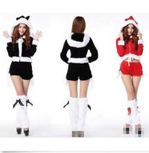 Sexy Lady Womens Santa Claus Christmas Costume Cosplay Lady Xmas Outfit Fancy Dress Black Red Free Shipping