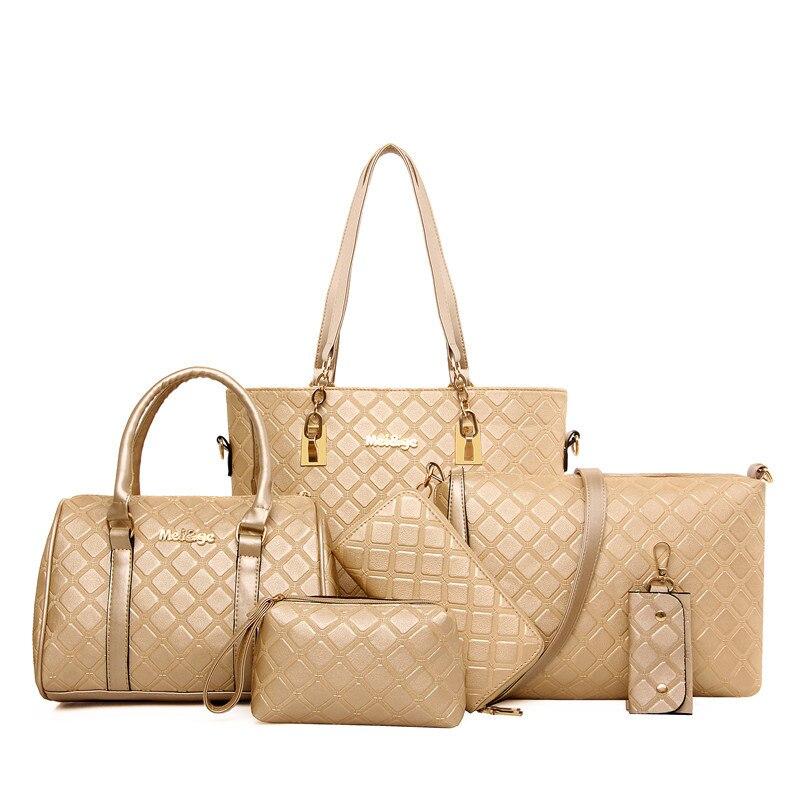 6pcs Women Handbag PU Leather Handbag New 2016 Bolsos Carteras Mujer Marca Cheap Handbags 10 Sac A Main Femme De Marque Goya Bag<br>